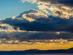 Dramatic Clouds - Rhodes Coastline ( Clouds & Sun Rays) View from Pefkos Village (Greece)  (Olympus OM-D EM5 & Panasonic G 35-100mm f2.8 Telephoto Zoom) (1 of 1) (markdbaynham) Tags: sky clouds colour shape coastline view sea rhodes rhodos greece grecia greka hellas hellenic gr pefkos olympus omd em5 csc evil mirrorless mft m43 m43rd micro43 panasonic lumix g 35100mm f28 zoom
