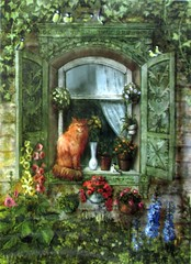 1510_summer_Belarus_BigGruffelo (Kille.wips) Tags: postcard summer ginger cat illustration window garden belarus galla yegorenkova flowers