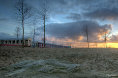 Abandoned train in the desert (Rene Mensen) Tags: wildlands sky sunset train emmen d5100 drenthe dierentuin dierenpark zoo thenetherlands sand