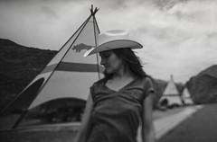 Big Bend (msturgeon333) Tags: blackandwhite bw monochrome tiltshift cowboy girl cowboyhat tipi tent reststop bigbend texas westtexas travel travelphotography tx