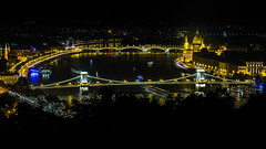 Night Time view of the Danube, Budapest, Hungary, Europe
