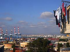 Port of Haifa with Laundry, Israel (themanwithsalthair) Tags: port israel cranes laundry haifa washing