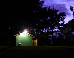 The green biffy (lindakowen) Tags: green night bathroom darkness photoshopelements biffy parkbuilding
