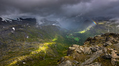 Dalsnibba (Ornaim) Tags: dalsnibba mountain glacier snow rainbow landscape geiranger fjord norway sunray sun rays road green cloud atmosphere apocalyptic cold wind summer norge norvege romsdal nikon d610 lee filter gnd 06 grad hard microsoft ice image composite editor lightroom 1635 vr panoramic
