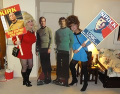 Rallying for our candidates (rgaines) Tags: costume cosplay crossplay drag startrek tos dragqueens halloween highheelrace kirk spock funny humor election yeomanjanicerand