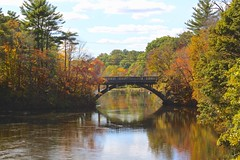 North River Bridge (Read2me) Tags: she autumn fall colorful leaves trees water bridge reflection river thechallengefactorywinner ge challengeyouwinner 15challengeswinner yourock1stunanimous perpetualchallengewinner challengeclubwinnerpregame winner pregamewinner friendlychallenges
