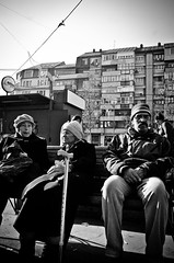 _DSC6774 (stimpsonjake) Tags: nikoncoolpixa 185mm streetphotography bucharest romania city candid blackandwhite bw monochrome oldpeople bench funny faces