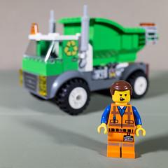 I love my job ! (MuTant 99) Tags: home toys lego minifigures garbageman miniature garbagetruck ricohgr