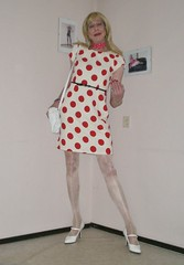 Polka dots. (sabine57) Tags: crossdressing transvestism crossdress crossdresser cd tgirl tranny transgender transvestite tv travestie drag pumps highheels pantyhose tights dress polkadotdress scarf handbag