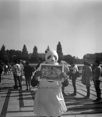(panda maid) (Dinasty_Oomae) Tags: zeissikon    supersix superikonta  blackandwhite bw monochrome outdoor jmsdf    tokyo setagayaku setagaya komazawa komazawaolympicpark ramen   tokyoramenshow  barker