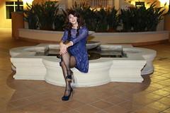 Blue Nights of Envy (AsianDesert) Tags: crossdress crossdresser cd cross dresss transgender bluedress lacedress thigh high hi nylons lace blue dress pumps heels sexy