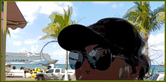 vacation reflections... (Baja Juan) Tags: hss happy slider sunday vacation reflections palm trees mexico cruise ship cozumel port shopping tropical location wife sunglasses slid modified altered baja