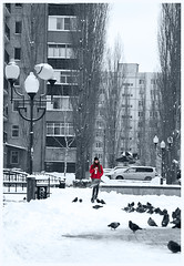 Girl in red (ezhikoff) Tags: winter snow street girl