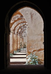 doors to the royal stables (SM Tham) Tags: africa morocco meknes royalstables horses architecture building arches doorway doors vista perspective lightandshadows plants weeds moulayismail unescoworldheritagesite columns pillars symmetry asymmetry