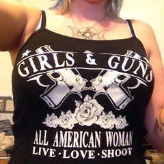 Customer Photo: Girls & Guns. All American Woman. Women's T-Shirt. (Sons of Liberty Tees) Tags: countrygirls girlpower girlswhoshoot girlswithguns girlytee glockgirl gunchick gungirl livefreeordie madeinusa molonlabe nra patriot pew pewpewpew rangegirl righttobeararms shallnotbeinfringed shooting sisterpatriots sonsofliberty sonsoflibertytees womenwhoshoot