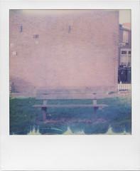 Where have I been (ale2000) Tags: polaroid impossible instant sx70 600 600color empty emptiness bench wood wooden bricks redbricks koog nederlands holland olanda emptybench