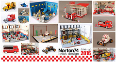 Norton74 2016 line-up (Andrea Lattanzio) Tags: lego foitsop esso garage legocars norton74 custom vespa scooter yearinlego hotrod tbucket ford fordt route66 warehouse legobay legohangar tank legotank spacetank futuron classicspace legospace volkswagen vw t1 bully vwt1 beer firetruck
