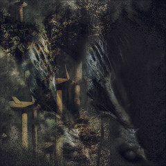 Thou Shall Not Fall (Paul B0udreau) Tags: macro nikkor50mm18 photoshop canada ontario paulboudreauphotography niagara d5100 nikon nikond5100 raw layer fotodioxextensiontubes 7mm14mm leaves autumn niagaraescarpment brucetrail nature windturbine statue
