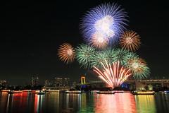 winter fireworks in Odaiba 2016 (cate) Tags: fireworks winter december odaiba rainbowbridge ships reflections