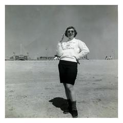 Down The Shore (vintagesmoke) Tags: vintage snapshot girl woman beach shore jersey new smoking cigarette temple university coed found photograph photo black white monochrome