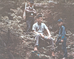 Age 15: The Guys on the Trail, Cannon Mountain (joeldinda) Tags: family vacation mountain me forest woods joel dick rich newhampshire slide hills trail richard scanned relatives states roger franconianotch undated argus c3 2933
