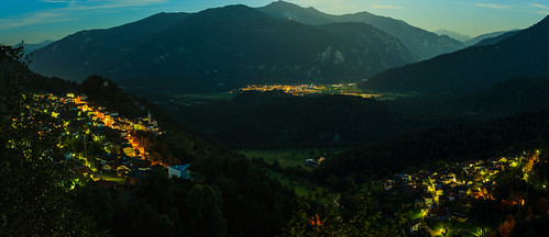 Panorama from the Crap Sogn Parcazi at full moon