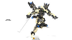 Impulser; Mark .X. Variant (clmntin.E) Tags: gold lego mechanical mark military hard mini science x scifi mecha rendered industries mech povray variant mocs minifigure afol ldd exo miniland hardsuits impulser minifigurine exosuits clmntine
