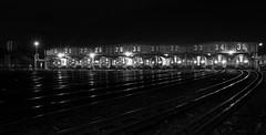 Ready for the Off (TS446Photo) Tags: camera light blackandwhite bw white black reflection london art monochrome lines club night train 35mm landscape mono nikon track nightscape bright metro steel tube shed victoria rails depot londonunderground dslr tfl lul victorialine d600 sigma35mm nikond600