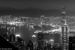 The City, the harbor and the mountains... (EHA73) Tags: aposummicronm1290asph leica leicamm typ246 monochrome bw blackandwhite travel cityscape nightphotography victoriaharbor victoriapeak mountains buildings skyscrapers towers lights
