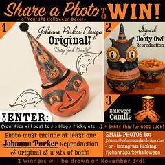 Johanna-Parker-Halloween-Giveaway (Johanna Parker Design) Tags: johannaparker halloween giveaway original folkart jackolantern jol bat owl candle raffle sculpture sharephotos collection halloweendisplay