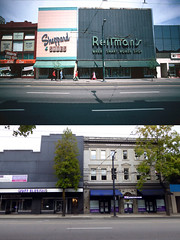 400 Block of West Hastings Street - 1974/2016 (entheos_fog) Tags: vancouver thenandnow downtown hastings 1974