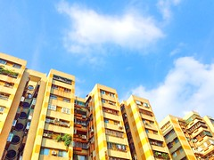 Yellow building with blue sky. (Ashyblue07) Tags: builtstructure architecture residentialbuilding apartment blue yellow citylife bluesky yellowbuilding taipei taiwan iphone5s iphonephotography
