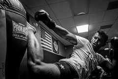 Francisco Garcia 10-25-16-6 (romancastro) Tags: muay thai muaythai blackandwhite kickboxer fighter gym training sandiego valormuaythai bnw x100t fujifilm photojournalism thephotoessay photoessay trainer boxing kick punch grit boxer striker tattoo