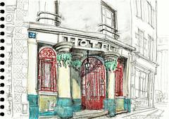 "Clermont-Ferrand, rue Massillon, Hôtel ""Bô Béton"" (Croctoo) Tags: croctoo croquis croctoofr crayon clermontferrand carnetdevoyage2016 watercolor"
