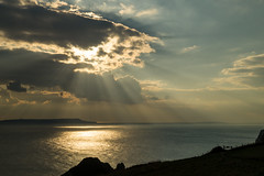 Sun's Rays (hutchyp) Tags: sun rays clouds sky sea durdle door dorset coast cliffs