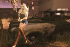 Sunset Dreams (littlerowan) Tags: secondlife country minidress cowboyboots farrahfawcett beads ruin