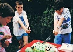 Ninjas cut the cake Michaelangelo (deadbudgie) Tags: cake cutting teenage mutant ninja turtle 1988 boysninja party