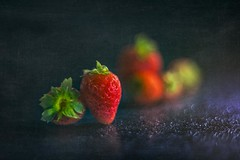 Strawberries (RoCafe) Tags: pentacon50mmf18 strawberries fruits food kitchen stilllife dark black red green bokeh textured nikond600