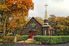 The Church by the Side of the Road (LotusMoon Photography) Tags: church chapel wedding weddingchapel roadside country fall autumn seasons filterforge color colorful artistic manipulated photomanipulation photoart photopainting texture painted painterly paintograph bright pattern annasheradon lotusmoonphotography love rockton illinois gothic gothicstyle