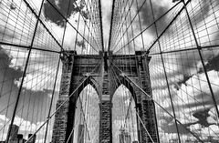 Brooklyn Bridge - Another Perspective (Priscila de Cássia) Tags: brooklyn brooklynbridge blackandwhite bw pb perspective pointofview usa travel contrast nikon nikond90 sky clouds architecture architectural