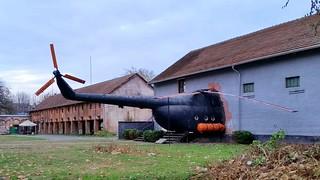 Mil Mi.8T c/n 0316 ex Yugoslavian Air Force preserved at a nightclub in Novi Sad, Serbia