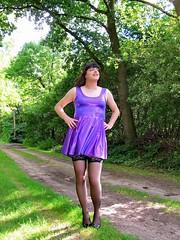 Heels on grass (Paula Satijn) Tags: sexy hot girl gurl dress skirt minidress miniskirt purple shiny metallic stockings tgirl transvestite forest outside free smile path legs summer stockingtops lace spandex