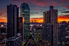 High Rise (*ScottyO*) Tags: newyork nyc ny manhattan longislandcity lic usa unitedstatesofamerica america city urban architecture buildings skyscraper skyline evening sunset dusk night sky clouds blue yellow orange lights hdr exposureblending