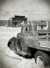 Free parking (reserves13) Tags: bodie northerncalifornia blackwhite truck texture