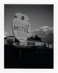 Tucumcari, NM (moominsean) Tags: polaroid 190 instant type667 expired092004 newmexico tucumcari sunset clouds monsoon summer dusk apache motel abandoned route66