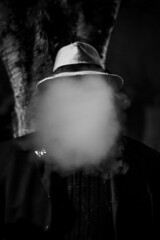 The Invisible Man (Stevie Toye) Tags: invisible art black white face faceless artistic creative smoke dark surreal album cover cool trendy flickr nikon bw atmosphere atmospheric smoky musician hat style stylish fashion