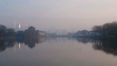 Misty Gold Over Greenland Dock (karlequin) Tags: dawn london greenlanddock se16 rotherhithe surreyquays dock water reflection mist sun moody cloudy overcast sky morning trees buildings houses canarywharf gold