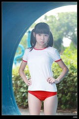 nEO_IMG_DP1U5645 (c0466art) Tags: school light red portrait baby hot cute girl face sport female canon pose japanese big high eyes uniform asia pretty pants action sweet outdoor gorgeous young taiwan style lovely cloth charming 1dx  c0466art