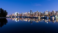Stanley Park Mirror (Spencer Finlay) Tags: longexposure nightphotography blue reflection water night vancouver buildings dark lights nikon downtown nightimages bright harbour stanleypark bluehour coalharbour vancity