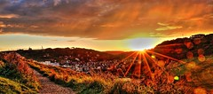 Etretat First Light (madM photography) Tags: travel light sun france color canon landscape photography golden town village vibrant first rays rise hdr etretat madan madm 70d